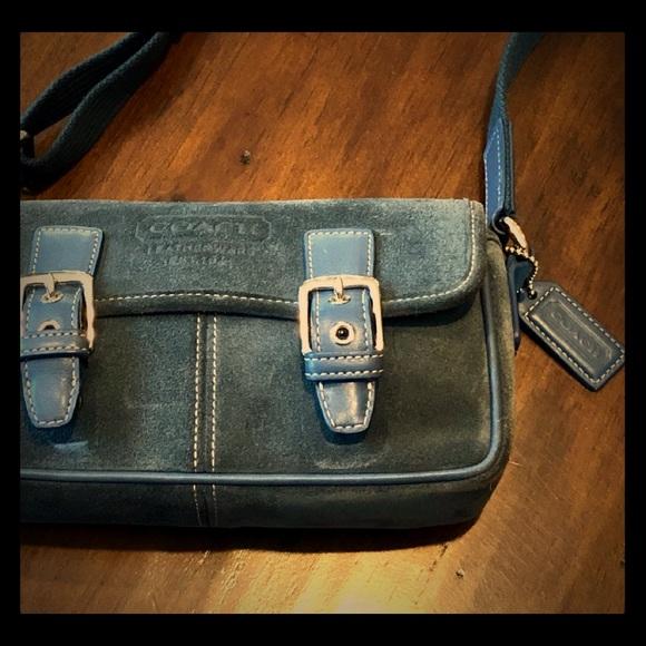 coach bags suede crossbody in denim color poshmark rh poshmark com